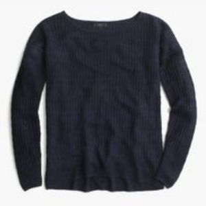 J.Crew Linen Cable Crewneck Sweater in Navy